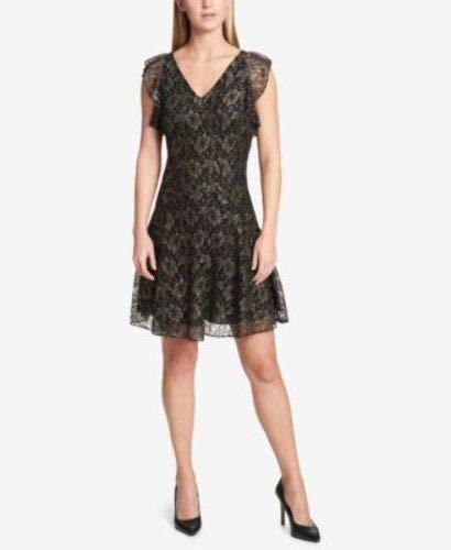 - Tommy Hilfiger Women's Metallic-Lace Fit & Flare Dress (18, Black/Gold)