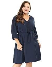 Agnes Orinda Women's Plus Size Tie Waist Crochet Panel V Neck Dress