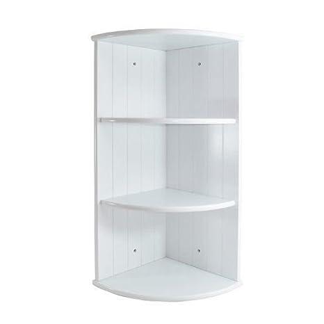 Eckregal, Holz, 3 Ebenen, Paneldesign, für Badezimmer, Schlafzimmer, Weiß