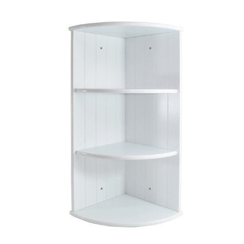 Elitezotec WHITE WOODEN 3 TIER CORNER SHELF SHELVING PANEL DESIGN BATHROOM BEDROOM Elitezotec®