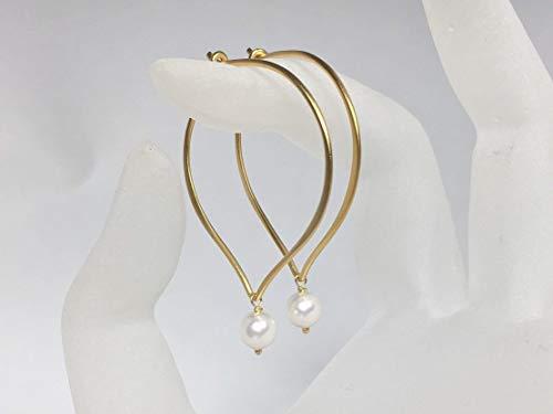 Hoop Earrings, Pearl Drops, Gold Vermeil, Lotus Ear Wires, Crystal Pearl