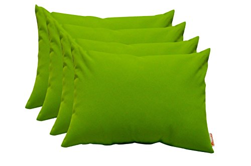 Set of 4 Indoor / Outdoor Decorative Lumbar / Rectangle Pillows - Sunbrella Canvas (Green Sunbrella)