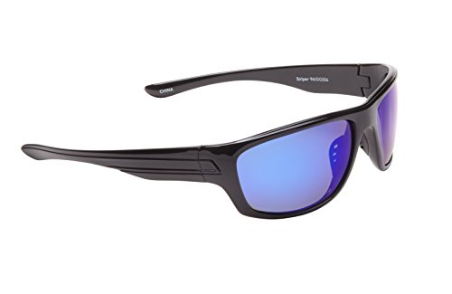 Fisherman Eyewear Striper Sunglasses with Blue Mirror Polarized Lens, Black (Large)