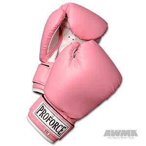 Pro Force Leatherette Boxing Gloves - Pink with White Palm - Pink - 14 oz.