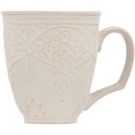 The Pioneer Woman Farmhouse Lace Mug Set, 4-Pack Off White (Decorative Mug)