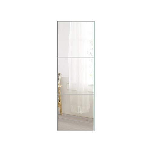 Beauty4U Full Length Tall Mirror Tiles - 16 Inch x 3Pcs Frameless Wall Mirror Set HD Vanity Make Up Mirror for Wall Décor