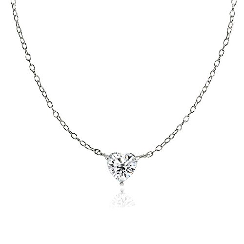 (Ice Gems Sterling Silver Small Dainty Heart Genuine, Simulated Gemstone or Cubic Zirconia Choker Necklace)