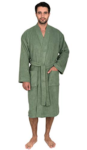 TowelSelections Men's Robe, Turkish Cotton Terry Kimono Bathrobe X-Small/Small Loden Frost