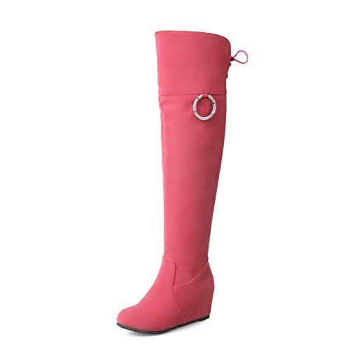 VogueZone009 Damen Mittler Absatz Nubukleder Stiefel mit Beschlagene Strass, Pink, 40