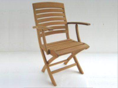 (Atlanta Teak Furniture - Teak Folding Arm Chair - Grade-A)