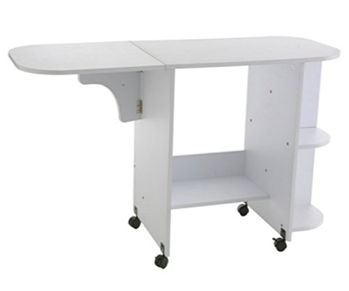 Rolling Sewing Machine Craft Table Drop Leaf White Folding Desk Storage Shelves by Upton Home