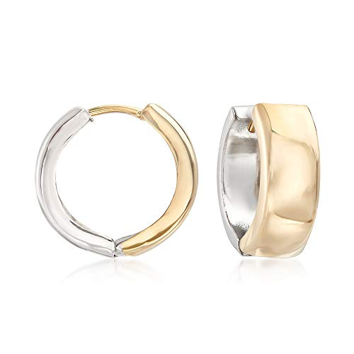 Ross-Simons Sterling Silver and 14kt Yellow Gold Reversible Huggie Hoop Earrings ()