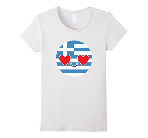 [Women's Greece Emoji Heart & Love Eye Greek Shirt National T-Shirt  Large White] (National Costume Of All Countries)