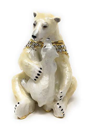 Bear Trinket Box - Kubla Crafts Enameled Polar Bear Holding Cub Trinket Box, Accented with Austrian Crystals, 2.25 Inches Tall