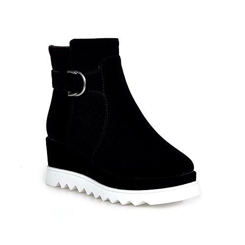 Allhqfashion Mujeres Square Cerrado Dedo Del Pie Imitado Gamuza Cremallera Kitten-heels Low-top Botas Negro