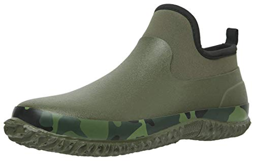 TENGTA Unisex Waterproof Garden Shoes Womens Rain Boots Mens Car Wash Footwear Army Green, 8.5 Women/7 Men