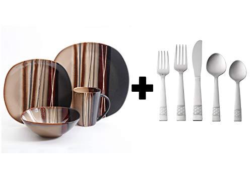 Better Homes and Gardens Bazaar 16 Piece Dinnerware Set in Brown with Flatware Set - Bundle