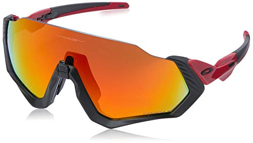 Oakley Men's OO9401 Flight Jacket Shield Sunglasses, Black/Prizm Ruby Polarized, 37 ()