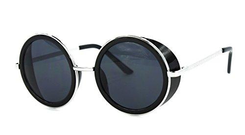 Trendy Round Side Visor Oversized Circle Lens Women's Fashion Sunglasses (Black Silver / - Trend Big Black Glasses