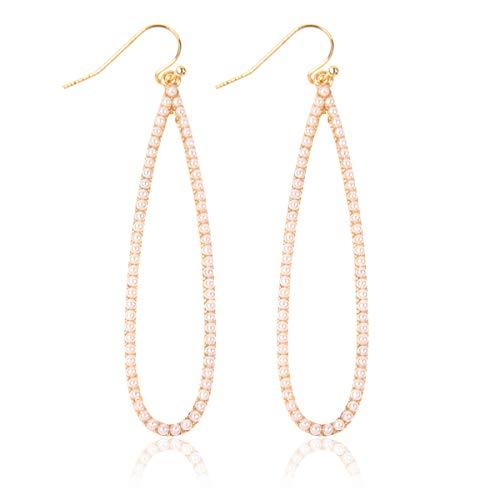 - Sparkly Simple Lightweight Geometric Open Hoop Drop Earrings - Cut-Out Dangles Teardrop/Pear/Pointy Oval/Marquise/Circle Cubic Zirconia Crystal/Multi Rhinestone/Acrylic (Long Teardrop - Gold Pearl)
