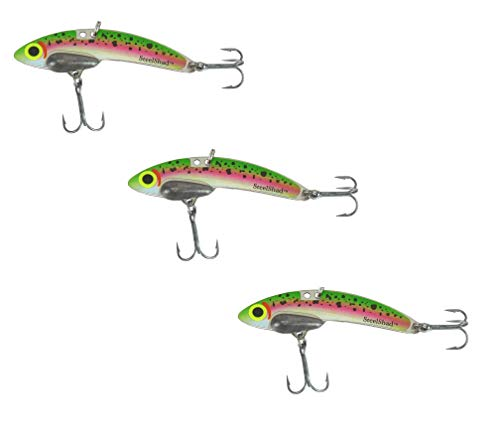 SteelShad - Lipless Crankbait for Freshwater & Saltwater Fishing - Long Casting Bass Lure Perfect for Bass, Pike, Musky, Walleye, Trout, Salmon and Striper - Trout 3 Pack