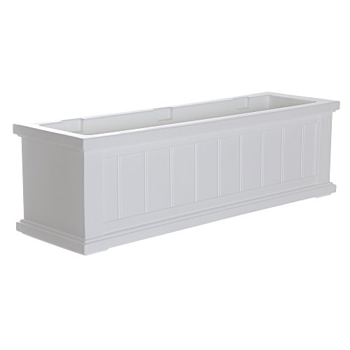 White Flower Boxes - Mayne 4840-W Cape Cod Polyethylene Window Box, 3', White
