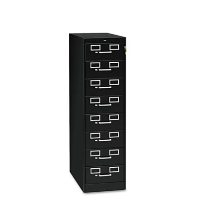 Eight-Drawer File Cabinet For 3 x 5 & 4 x 6 Cards, 15w x 52h, Black, Sold as 1 - Card Drawer 8 File