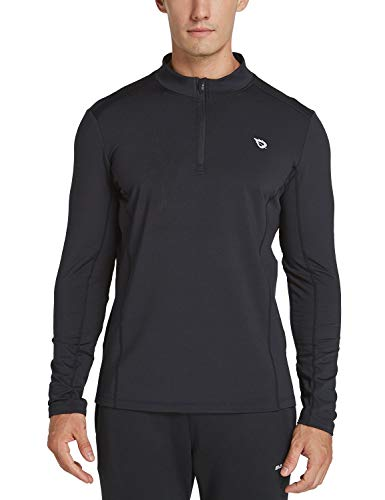 Fleece Turtleneck Micro (Baleaf Men's 1/4 Zip Pullover Thermal Running T-Shirts Long Sleeve Black XXXL)