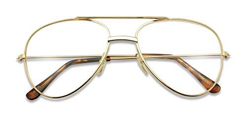 Classic Retro Optical Metal Aviator Reading Glasses Rx Strength +1.0 Thru +2.50 Spring Hinges Pilot Style (Gold, - Frames Glasses Old Man