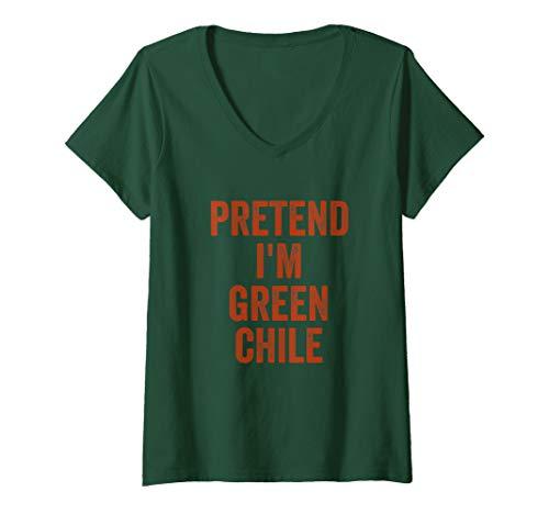 (Womens Lazy Halloween Costume Shirt Gift Pretend I'm Green Chile V-Neck)
