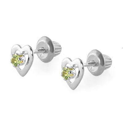 14K White Gold August Birthstone Peridot Heart Earrings For Girls