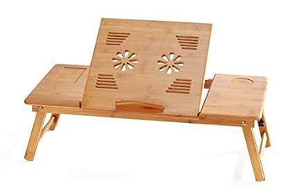 70cm*35cm*30cm without Ventilation Slots EVST portatile bamb/ù pieghevole da tavolo per notebook regolabile in altezza tavolino da letto con cassetto