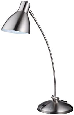 Normande HS1-1461A 60-Watt Desk Lamp with Onboard Electrical Outlet, Brushed Steel