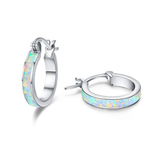 Huggie Earrings Small Sterling Silver Hoop Earrings Circle Opal Birthstone Cut Earrings - Round Tiny/Mini Cartilage Pierced Huggie Hoops Earring Stud - Jewelry Gift For Women Girls (Silver)