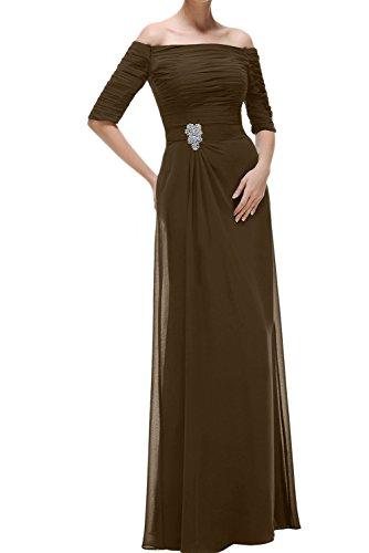 Schokolade Festkleider Lang Aermeln Abendkleider U Chiffon Damen Promkleid Ausschnitt Ivydressing Mit wqpSB4a