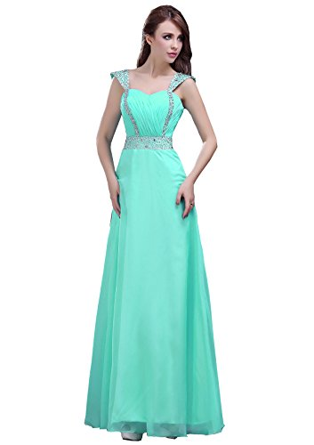 Mintgrün Edaier Perlen Abendkleid Kleid Kappe Chiffon Damen Ärmel Prom TTrB8xO