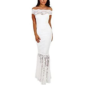 Elapsy Womens Sexy Off Shoulder Bardot Lace Evening Gown Fishtail Maxi Dress