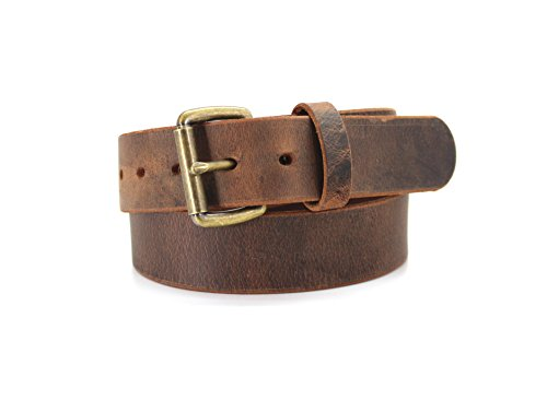 (Brown Distressed American Bison Smooth Casual Belt (34) 8267DW-45)