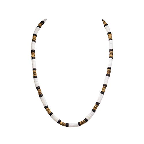 Puka Clam Shell Beads Necklace with Black and Tiger Coconut Wood Beads