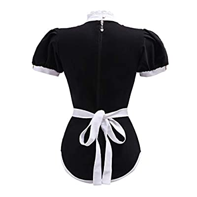 Littleforbig Adult Baby Diaper Lover (ABDL) Button Crotch Adult Baby Onesie Bodysuit – Maid Suit: Clothing