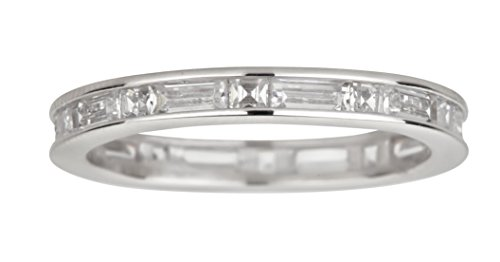 erling Silver Rhodium Princess and Baguette Cut Eternity Band, 7 ()