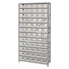 Quantum Storage Systems 1275-102CL Clear-View Shelf and Bin Unit, 60 QSB102 Shelf Bins, 12