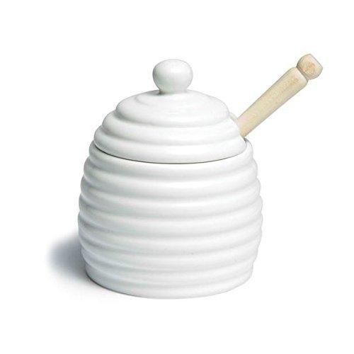 Honey Pot with wooden dipper (11cm) White Ceramic (2 Part Item) (Pack of 2) WM Bartleet & Sons