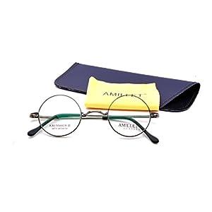 AMILLET Retro Men's Round Titanium Eyeglass Frames (Gunmetal, 42)