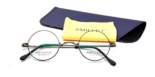 Amillet 42mm Retro Round Titanium Prescription Eyeglass Frames,for Men and Women,Rx-able,0.4 oz - Varifocal Designer Glasses