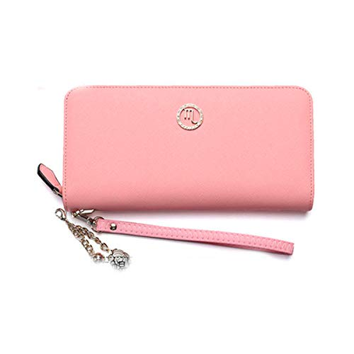 Muziwenju Women's 12 Constellation Leather Wallet, Clutch, Big Travel Wallet, Women's Zipper Wallet, Women's Boxed Gift, Love Gift (Pink) Latest Style, Practical (Color : Scorpio)