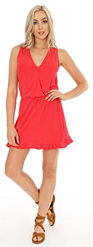 Bobi Surplice Sleeveless Dress in Cayenne, - Dress Bobi Womens