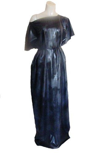 Robe noire en caoutchouc. Longueur au sol. Tunique. Cravate ceinture. Style Simple, en vrac, Silicone latex Mix L/XL/XXL