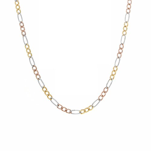 14K Yellow Gold Men Women's 2.5MM Tricolor Solid Figaro Chain Lobster Clasp, 16 to 22 Inches by Jawa Fashion