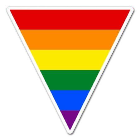 Rainbow Flag Triangle Vinyl Sticker - Car Phone Helmet Bumper Sticker -